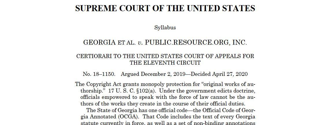 Georgia et al. v. Public.Resource.Org, Inc. USSC 27 April 2020